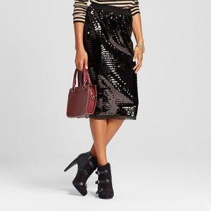 Who What Wear Black Sequin Midi Size: Medium
